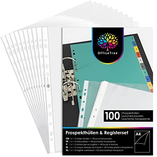 OfficeTree 100 Klarsichtfolien A4 + Trennblätter für Ordner A4 - Prospekthüllen A4 - Klarsichthüllen für Ordner - Dokumentenhülle Gelocht