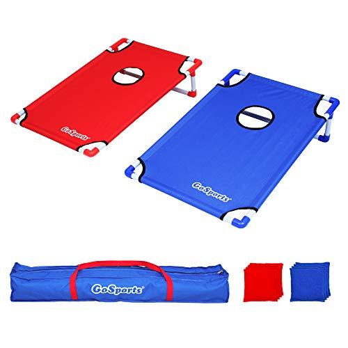 GoSports CH-04 Juego de Cornhole portátil de 3 x 2 pies con Marco de PVC con 8 Bolsas de Frijoles y Funda de Transporte de Viaje, Unisex Adulto, Rojo Azul