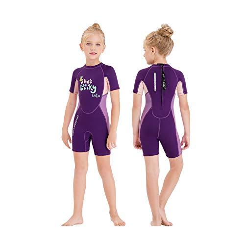 Gogokids Muta Termica per Bambina Ragazze - Costumi da Bagno Bambini Muta da Sub Intero 2.5mm Neoprene Costumi da Mare per Surf Diving Snorkeling Nuotare UV 50+ Protezione Solare