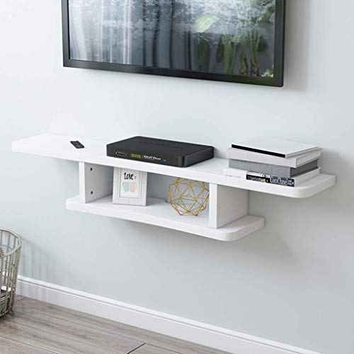 YXZN Consola Multimedia Flotante, Consola De TV Montada En La Pared De 2 Niveles Estante De TV Flotante para Cajas De Cable, Enrutadores, Controles Remotos, Reproductores De DVD, Consolas De Juegos