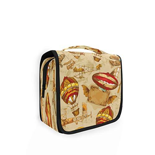 Bolsa de aseo colgante Lerous con diseño de aviones retro, bolsa de lavado con gancho, impermeable, portátil, grande, organizador de cosméticos de viaje para mujeres y hombres