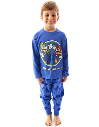 Super Mario Luigi Schlafanzug für Jungen, langärmlig, Kinder, blaues T-Shirt und...