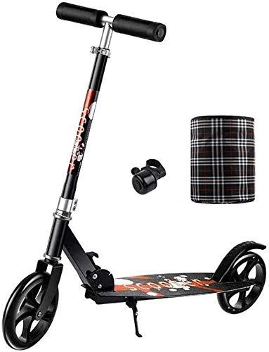 Patín Eléctrico Kick Ruedas Grandes for Adultos Vespa Hight-Ajustable Scooter Urbano con la Campana y Cesta Plegable del Viajero Scooters for Adolescentes Niños Edad 12 hasta (Color : Black)