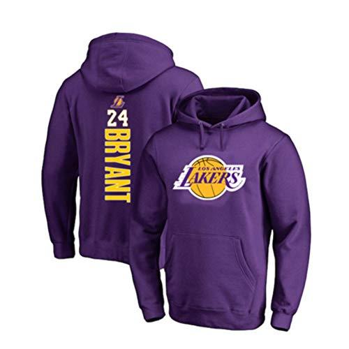 YUNAN Sudadera de baloncesto con capucha Los Angeles Lakers # 24 Kobe Bryant con capucha para entrenamiento, sudadera holgada para deportes y uso casual, color morado 1-L