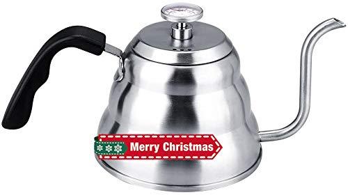 Teiera con termometro,1L/1,2L Bollitore da caffè a collo d'oca in acciaio inossidabile 304,Versare sopra il bollitore per caffè americano,Bollitore di grande capacità Per il gas,Elettrico(1L)