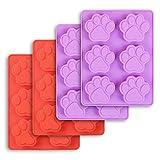 Cozihom - Stampi in silicone a forma di zampa di cane, 6 cavità, grado alimentare, per cioccolato, caramelle, budino, gelatina, dolcetti per cani. 4 pezzi