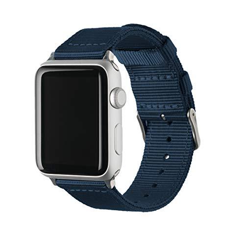Archer Watch Straps | Premium Cinturino Ricambio di Nylon per Apple Watch | Fibbia e Adattatori in Acciaio Inossidabile e Nero | Cinturino per Uomo e Donna | Blu Navy/Acciaio Inossidabile, 42/44mm