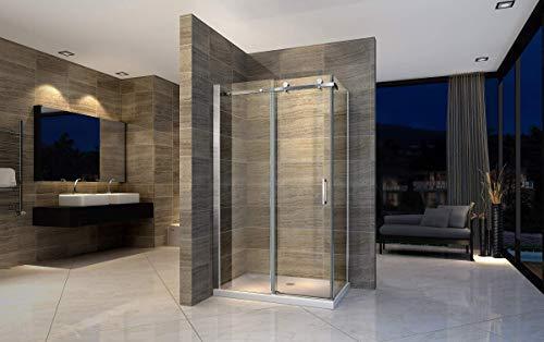Duschkabine 160x90 cm Eckdusche Duschabtrennung Dusche Schiebetür Duschtür Duschwand ESG Sicherheitsglas NANO-Beschichtung