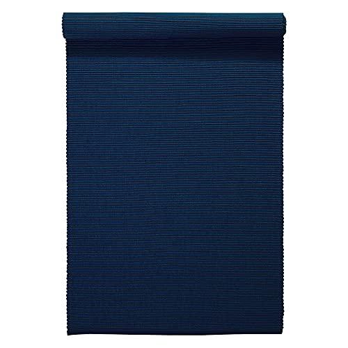 LINUM UNI Chemin de Table décoratif 45 x 150 cm en Coton côtelé, Lavable en Machine, Bleu Nuit
