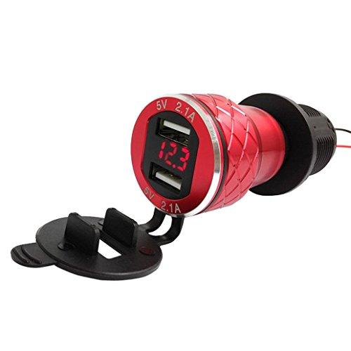 kingko® 4.2A Aluminium Motorrad Dual USB Ladegerät DIN Buchse Voltmeter für Motorrad für Hella/DIN oder für BMW Motorradsteckdosen hergestellt. (Rot)
