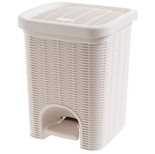 Toho Bote de Basura Plástico con una Tapa de,Cubo de Basura Gran Capacidad Papelera Cubo de Basura para el Hogar Sala de Estar Cuarto de Baño Cocina A/Beige