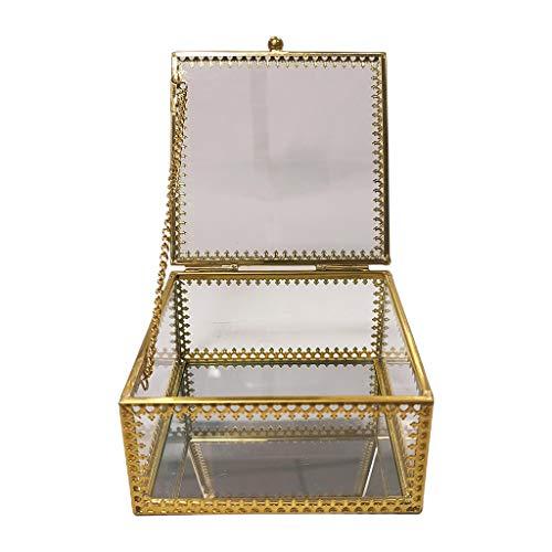 LessLIFE Caja de joyería, Cuadrado de Oro Latón de Cristal de la Joyería de la Caja de la Joyería de Encaje de la Joyería