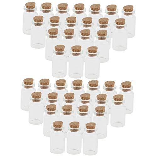 Milageto Frascos de Botellas de Vidrio con Mensaje de Deseo Claro de 40 Piezas con Corcho de 10 Ml