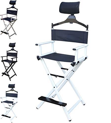 Floreo Look Profi Make-up Stuhl schminkstuhl regiestuhl klappstuhl Aluminium Maskenbildner (Weiß)