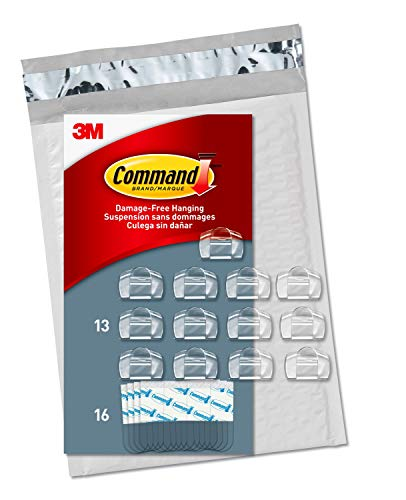 Command Clear Cord Clips, 13 Clips, 16 Strips - Easy to Open Packaging, Organize Damage-Free