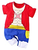 Luffy Outfit Baby Costume, Cute Infant Toddler Cool Newborn Cosplay Romper Cartoon Pajamas Clothes (Red, 12-18 Months)