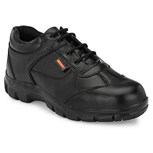 Fashion Tree Timberwood Genuine Leather Steel Toe Safety Shoe for Men (Black, UK 9, TW 43)