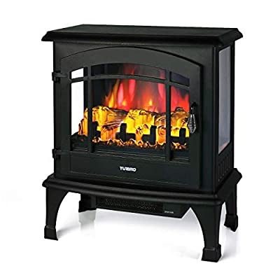 """TURBRO Suburbs TS23 Electric Fireplace Heater, Freestanding Fireplace Stove with Realistic Adjustable Flame Effect - CSA Certified - Overheating Safety Protection - Remote Control - 23"""" 1400W Black"""