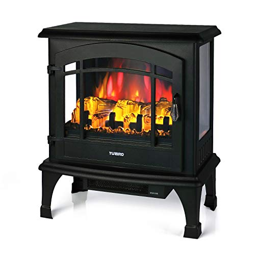 "TURBRO Suburbs TS23 Electric Fireplace Heater, Freestanding Fireplace Stove with Realistic Adjustable Flame Effect - CSA Certified - Overheating Safety Protection - Remote Control - 23"" 1400W Black"