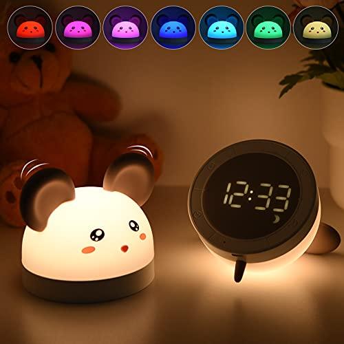 Luz Nocturna Infantil Bawoo Reloj Despertador con Luz Nocturna para Niños Luz Quitamiedos Lámpara Bebé, Silicona Seguro para Bebé Niño, Brillo Ajustable Ahorro de Energía, Regalos para Niños Bebé