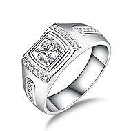 Bishilin Wedding Rings White Gold 750, 4 Prong Diamond Ring Bands for Women 0.3Ct Diamond Anniversar...