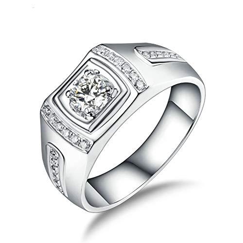 Bishilin Anillos Oro Blanco 750 Alianza de Boda de 18K, Diamante de 4 Puntas Anillo de Bodas para Mujer 0.3 Quilates de Diamante Elegante Anillo de Compromiso de Boda Oro Blanco Talla: 30