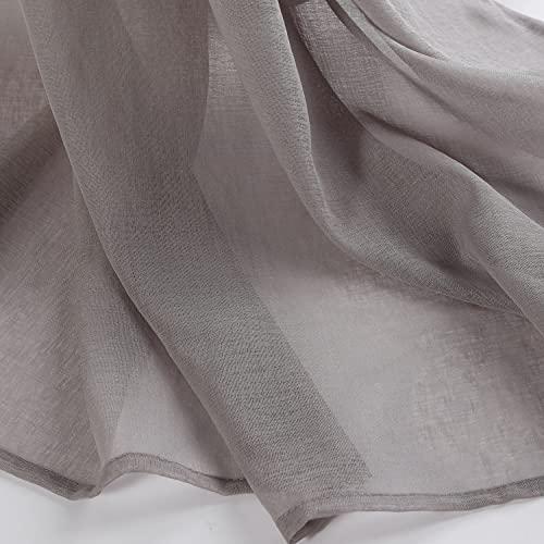 SCM Gardinen Schals in Leinen-Optik Leinenstruktur Vorhänge Schlafzimmer Transparent Vorhang für große Fenster Doris Grey, lang (2er-Set, je 225x140cm)