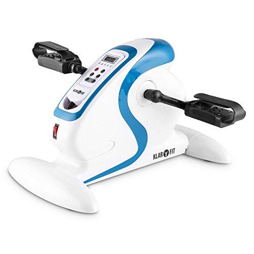 Klarfit Cycloony Bicicleta estática portátil (70 W, indicador calorías, Distancia, Carga máxima 120 kg, 12 velocidades, Mando a Distancia, Pantalla LCD, tamaño Compacto) - Azul