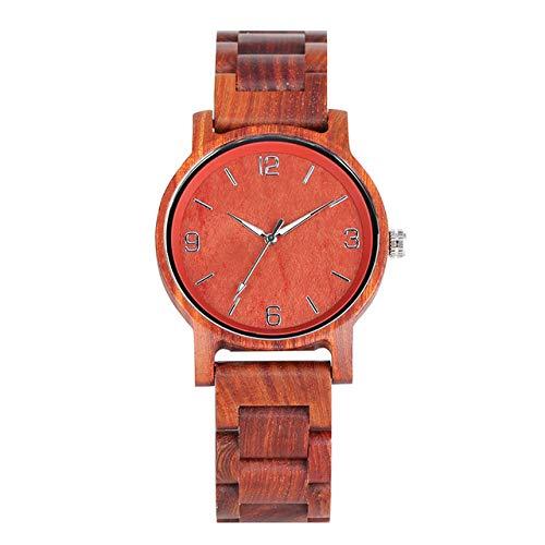 RWJFH Reloj de Madera Relojes de Madera completos para Hombre, Movimiento de Cuarzo, números Simples, Esfera de visualización, Reloj de Brazalete de Madera Informal para Hombres de Negocios, Solo re