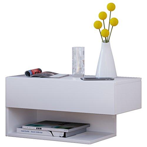 VCM klado Maxi cassetto da Parete Mobile di Ingresso, Legno, Bianco, 29,5x 60x 31,5cm