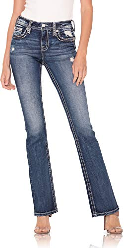 Miss Me Women's Mid-Rise Chloe Boot Jeans with Distressing and Embroidered Border - 32' Inseam (Dark Blue, 34)