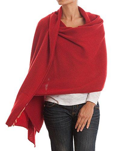 DALLE PIANE CASHMERE - Stola 100% cashmere - Donna, Colore: Rosso, Taglia unica