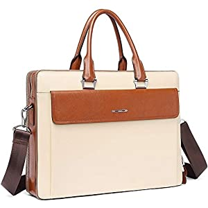 "CLUCI Women Oil Wax Leather Briefcases Slim Large Business 15.6"" Laptop Vintage Shoulder Bag for Men 8"