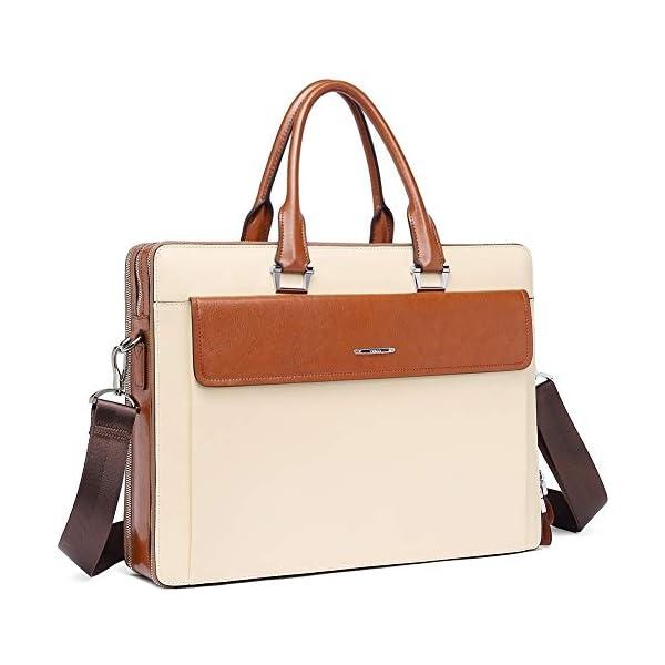 "CLUCI Women Oil Wax Leather Briefcases Slim Large Business 15.6"" Laptop Vintage Shoulder Bag for Men 1"