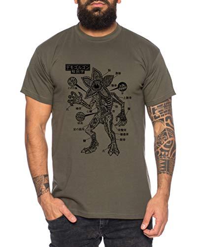 Tee Kiki Stranger Demo Anatomie - Camiseta de Hombre Things Demogorgon Elfie Dustin Jane Hopper Upside Down TV BLU-Ray DVD, Größe2:X-Large, Farbe2:Caqui