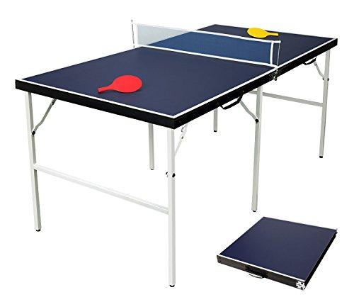 HLC Tischtennisplatte für Kinder, zusammenklappbar, Maße 154x 77x 69cm, Blau