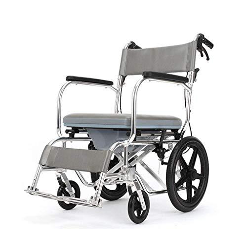 GJX Toilettenrollstuhl Badestuhl Medical Rollstuhl mit WC mega leichtes Aluminium Rahmen bequemen Transport Sicher