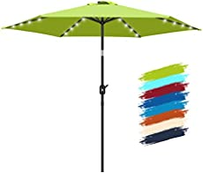 FRUITEAM 7.5 Feet Solar 24 LED Lighted Umbrella-Solar Umbrella Lawn and Garden w/Easy Tilt Adjustment, Market Umbrella Adjustment and Crank Lift System for Patio