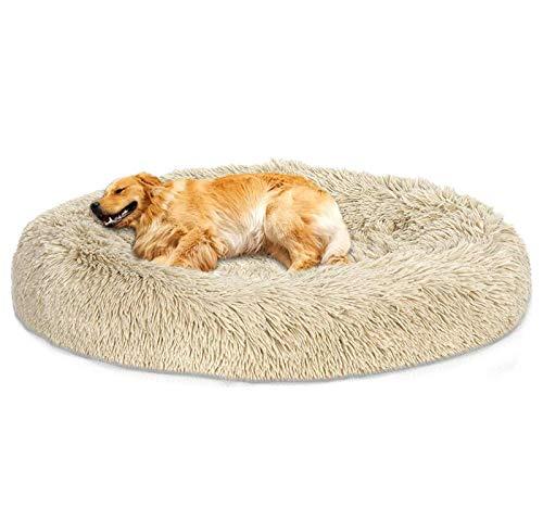 Loir Fluffy hundebett für große und extra große Hunde, 120 cm, Khaki, Donut Weiches Plüsch Rundes hundekissen, Waschbar, Tiefschlaf