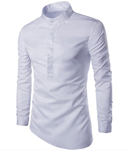 WSLCN Homme Chemise Manche Longue Col Mao Blanc FR XS (Asie M)