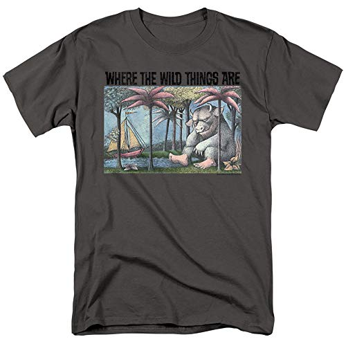 Where The Wild Things are Cover Art Unisex Adult T Shirt for Men and Women, Charcoal, Large
