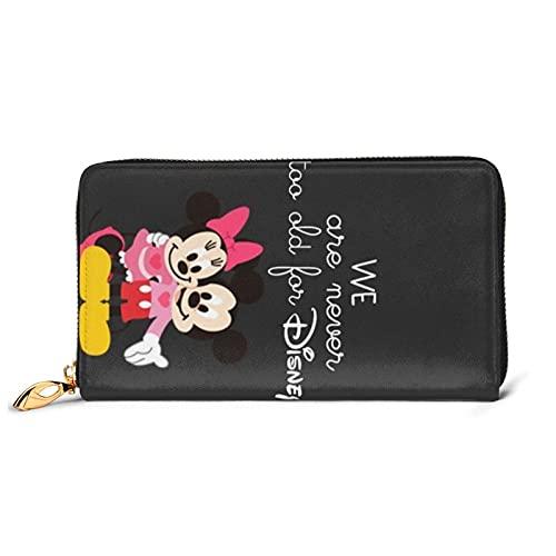 Minnie Mouse - Cartera de piel auténtica con cremallera de gran capacidad, impermeable, de alta calidad, para mujeres, hombres y mujeres