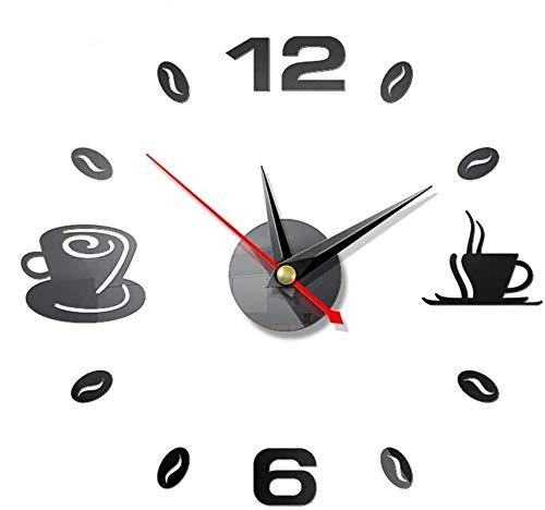 2 Piezas DIY Reloj de Pared, BESTZY 3D Relojes de Pared Espejo Pegatina Reloj de Etiqueta de Pared DIY Frameless Gran Reloj de Pared Números Romanos para Decorar la Oficina Casa