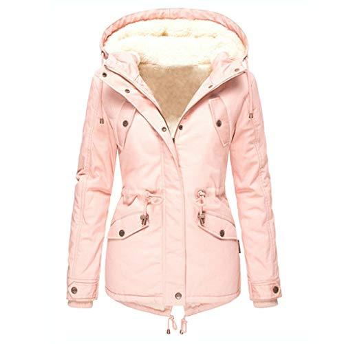 Frauen Fleece gefütterte Kapuzenjacke Fuzzy Furry Warm Winter Parka Jacke Langarm Reißverschluss Slim Mantel Jacket