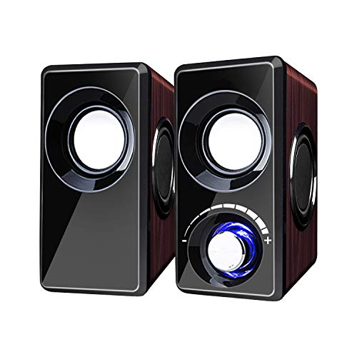 Computer Speakers with Subwoofer Built-in 6 Loudspeaker Diaphragm High Sound Quality USB Powered LED Small Multimedia Speakers for Laptop/Desktop/Tablets/Phone(Red Wood)