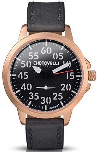 Chotovelli Men's Airliner Aviator Watch 100 Waterproof with Vintage Leather Strap (3301)