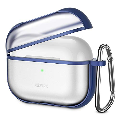 ESR Protective Carrying Case for AirPods Pro Case 2019, Translucent PC Cover with Hybrid TPU Frame and Keychain [Won't Affect Wireless Charging],[Fingerprint Resistant Matte Surface], Blue Frame