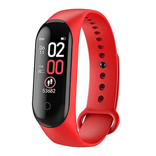 QiKun-Home M4 smartwatch pulsera inteligente monitor de ritmo cardíaco para la salud Monitoreo pantalla color impermeable deportes pulsera rojo cable carga