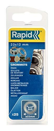 Rapid Ösen mit Scheiben 12mm, 25 Stk. Set Inkl. Einschlagwerkzeug, silberfarbig stahl