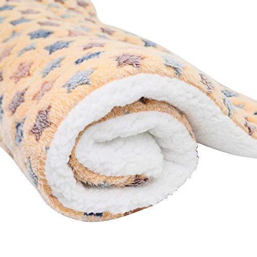 Haodou Haustier Decke Hundebett Hundekissen Gelb Sternenhimmel Decke Matte Mimi Softe Warme Flanell Hundedecke Katzendecke Fleecedecke Schlafplatz Hund Katzen für den Winter(55 * 45CM)